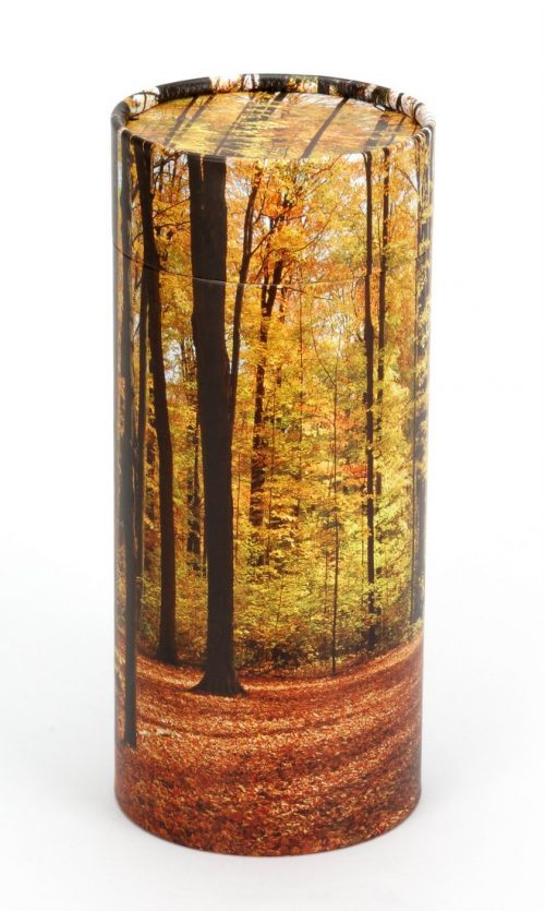 Scatter tube for ashes with autumn design