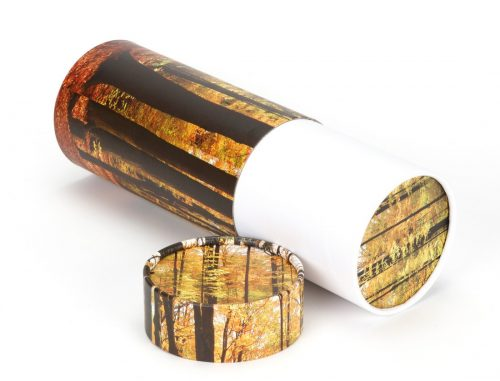 scatter tube with autumnal wood design