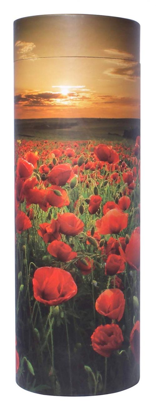 scatter tube with poppy field at sunset design