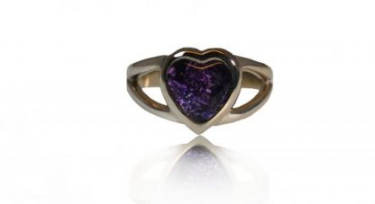 Heart ashes ring in silver