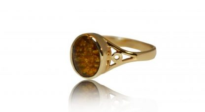 Classic ashes ring in gold - side view