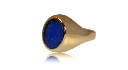 Large classic signet ashes ring in gold - side view