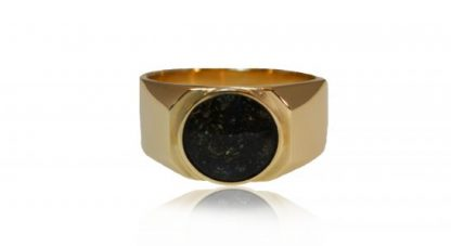 modern ashes signet ring in gold