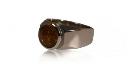 modern ashes signet ring in silver - side view