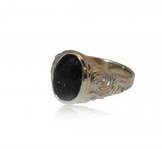 Ornate ashes signet ring in silver side view