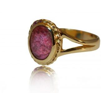Oval ashes ring in gold - side view