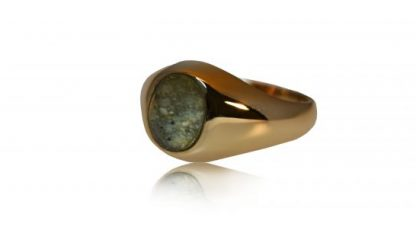 Small classic ashes signet ring in gold - side view