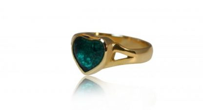 small heart ashes ring in gold - side view