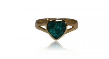 small heart ashes ring in gold