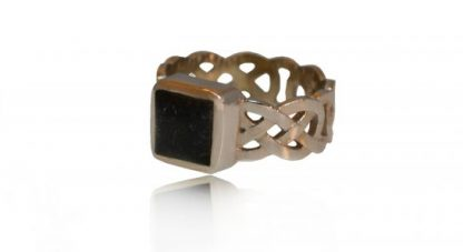 square set celtic ashes ring in silver - side view