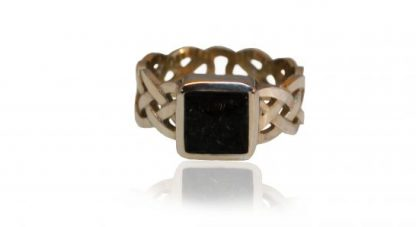 square set celtic ashes ring in silver